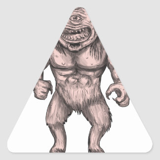 Cyclops Standing Tattoo Triangle Sticker
