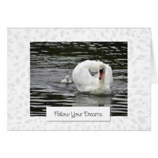 Cygnet Following Swan Card