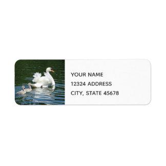 Cygnets following Momma Return Address Label