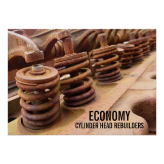 Cylinder Head Rebuilders Rusty Engine Block Photo Poster