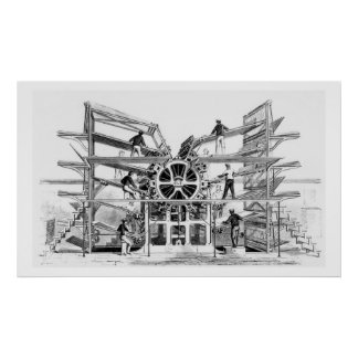 Cylinder printing press invented by Richard March Poster