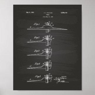 Cymbal 1951 Patent Art Chalkboard Poster