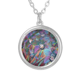 Cymbidium Carnival 2 Silver Plated Necklace