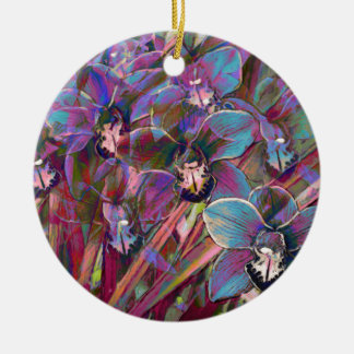 Cymbidium Orchid Carnival Round Ceramic Decoration