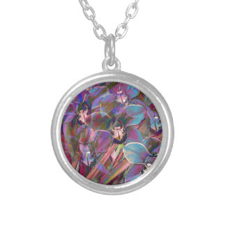 Cymbidium Orchid Carnival Silver Plated Necklace