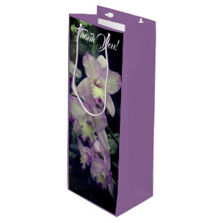 Cymbidium Orchid Flowers Shades of Purple Wine Gift Bag