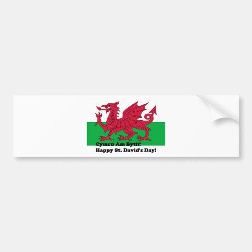 Cymru Am Byth - Happy St. David's Day Bumper Stickers