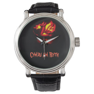 Cymru Am Byth Welsh Dragon Lantern Design Watch