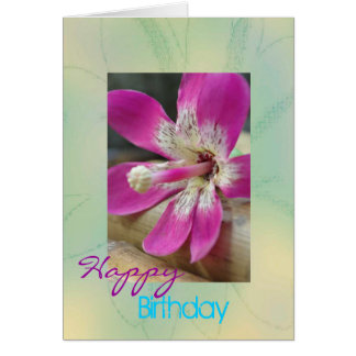 """Cyndee"" Tropical Orchid Birthday Card"