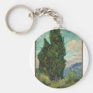 Cypress Tree at Night Key Ring