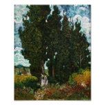 Cypresses with Two Women, Vincent van Gogh Print