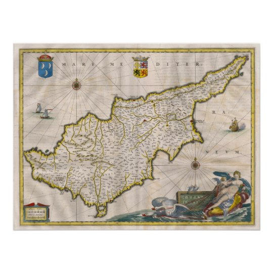Cyprus 1635 Map Poster