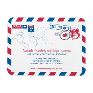 Cyprus Air Mail Wedding Save the Date 3x4 Rectangular Photo Magnet