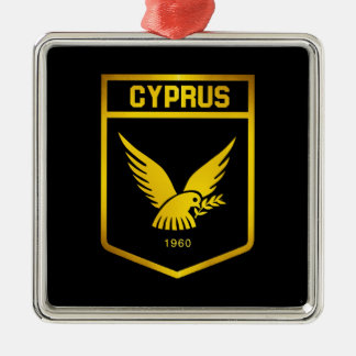 Cyprus Emblem Silver-Colored Square Decoration