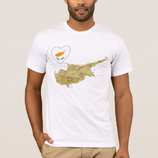 Cyprus Flag Heart and Map T-Shirt