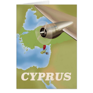 Cyprus map vintage travel poster card