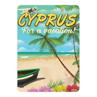 Cyprus vintage beach travel poster card