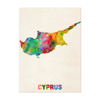 Cyprus Watercolor Map Stretched Canvas Prints
