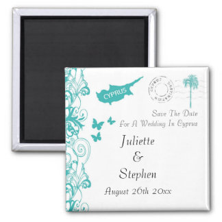 Cyprus Wedding Save The Date Square Magnet