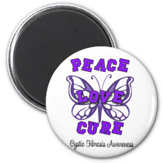 Cystic Fibrosis Peace Love Cure Butterfly 6 Cm Round Magnet