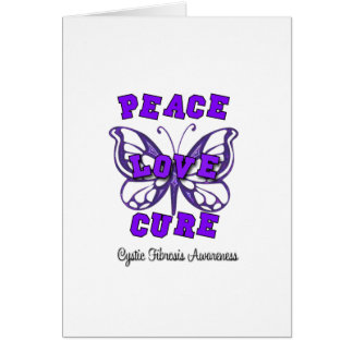 Cystic Fibrosis Peace Love Cure Butterfly Card