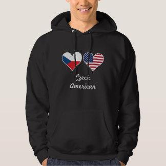 Czech American Flag Hearts Hoodie