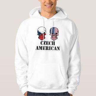 Czech American Flag Skulls Hoodie