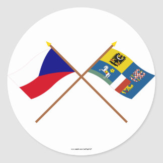 Czech and Moravia-Silesia Crossed Flags Classic Round Sticker