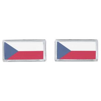 Czech Flag Silver Finish Cuff Links