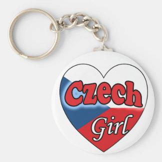 Czech Girl Basic Round Button Key Ring
