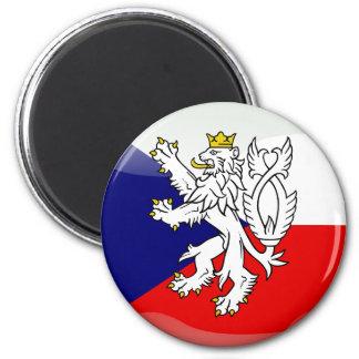 Czech glossy flag 6 cm round magnet