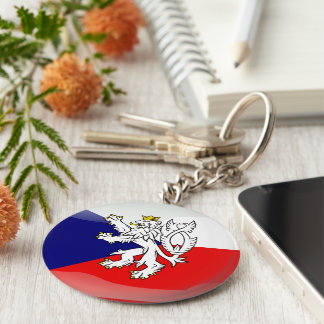 Czech glossy flag basic round button key ring