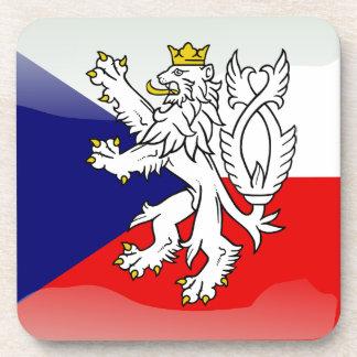 Czech glossy flag beverage coaster