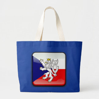 Czech glossy flag large tote bag