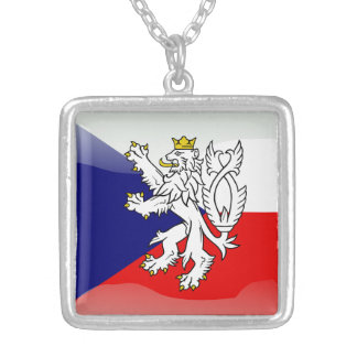 Czech glossy flag silver plated necklace