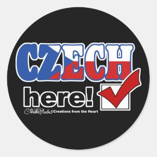 Czech Here (Dark) Classic Round Sticker
