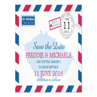 Czech Republic Airmail   Save the Date Magnetic Invitations