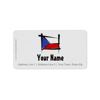 Czech Republic Brush Flag Address Label