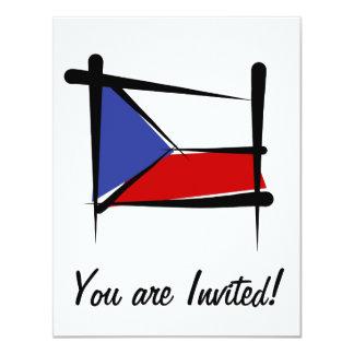 "Czech Republic Brush Flag 4.25"" X 5.5"" Invitation Card"