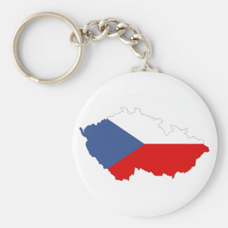 czech republic country flag map basic round button key ring