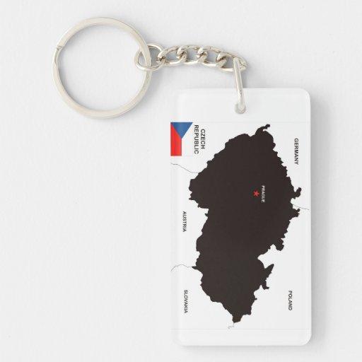 czech republic country political map flag acrylic keychain