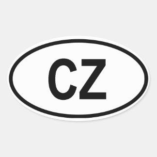 """Czech Republic """"CZ"""" Oval Sticker"""