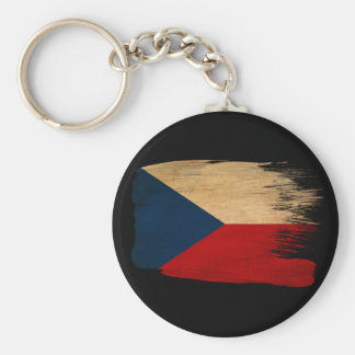 Czech Republic Flag Basic Round Button Key Ring
