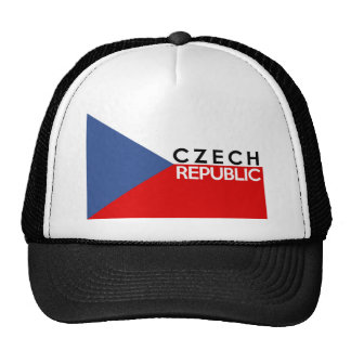 czech republic flag country text name trucker hats