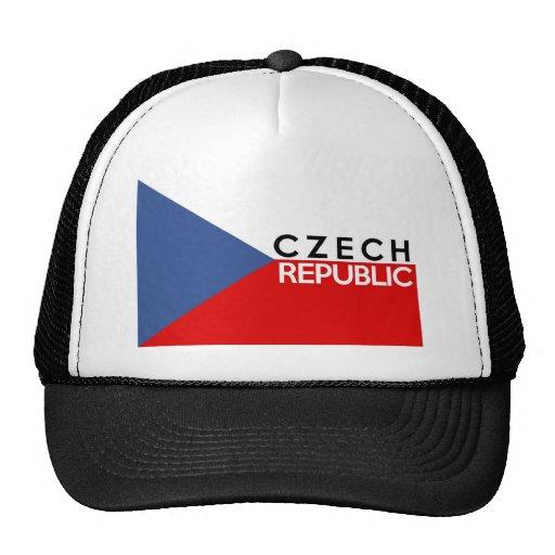 czech republic flag country text name trucker hats