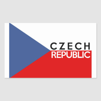 czech republic flag country text name rectangular sticker