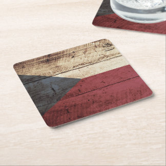 Czech Republic Flag on Old Wood Grain Square Paper Coaster