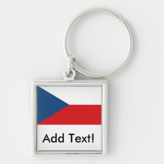 Czech Republic Flag Silver-Colored Square Key Ring