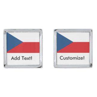Czech Republic Flag Silver Finish Cuff Links
