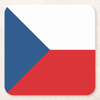 Czech Republic Flag Square Paper Coaster